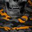 Orange & Grey Military Camo Skull